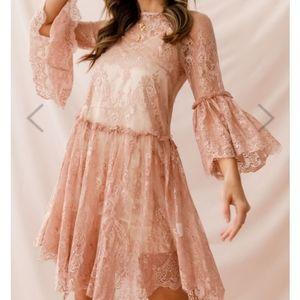 Birdie Nude Lace Overswing Dress